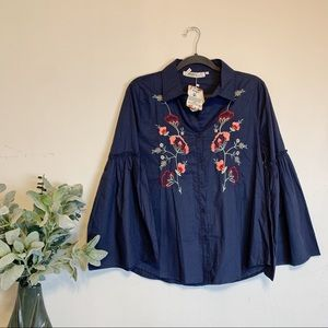 Boutique Embroidered Bell Sleeve Button Blouse
